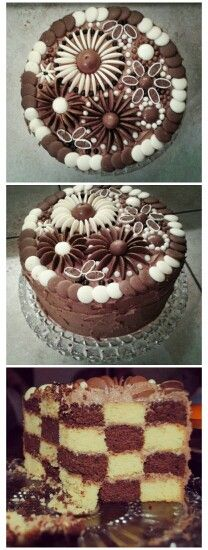 so, i made this cake for my husband's 30th a couple of weeks ago.  pretty darn proud of it.  victoria sponge  chocolate victoria sponge, checkerboard effect.   chocolate buttercream.  decorated with milk chocolate buttons, white chocolate buttons, vice versas, revels  mini chocolate biscuit balls.  inspiration totally taken from pinterest.  application all mine  :)
