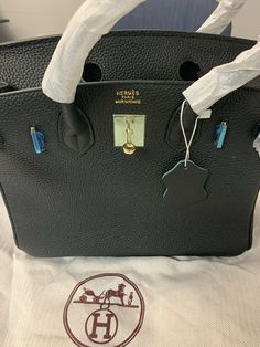 79b9dbeef384 BLACK HERMES BIRKIN 25 TOGO BAG. Great condition with dust bag  fashion   clothing