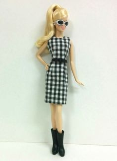 Black & White Checkered Dress with Black Faux by SKSungDesigns