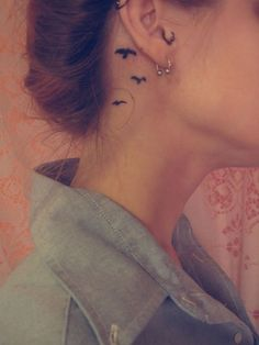 Birds behind the ear tattoo ^-^ --- again, birds are way overdone but still…