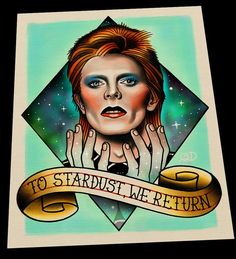 David Bowie traditional tattoo memorial flash art print by Quyen Dinh