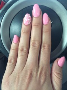 Pink Acrylic Pink Art Design With Gold Oval Nails Acrylic Nail