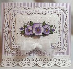 Old Fashioned Pansies Card - using Great Impressions G329 Pansy Bough Rubber stamp    - purple and white