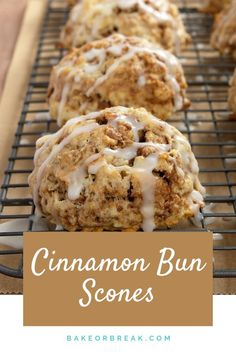 Simple to make and a pleasure to eat Cinnamon Bun Scones are a fabulous sweet cinnamon-y treat. - Bake or Break Breakfast Scones, Breakfast Bake, Breakfast Dishes, Sweet Breakfast, Just Desserts, Delicious Desserts, Dessert Recipes, Yummy Food, Cupcake Recipes Easy