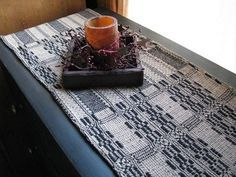 """Primitive Black and Tan Woven Coverlet Table Runner 32"""""""