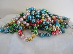 Vintage Mercury Glass Garland 3 Strands Multi-Color by myfancies
