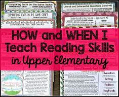 How and When I Teach Reading Skills in Upper Elementary