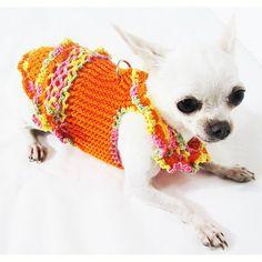 Sexy Dog Dress Ruffle Colorful Puppy Clothes XXS por myknitt