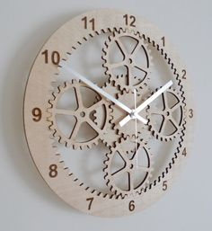 Laser cut planetary gears wall clock by BeamDesigns on Etsy, £35.0