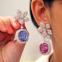 The @vogueindia #VogueWeddingShow is one of the most exclusive wedding shows in the world, and here one of this year's hottest trends- the mis-matched earrings - were displayed in high jewellery form by Diacolor @dia_logues . Featuring a 40ct blue sapphire and a 40ct kunzite each.  Photo credit: @preeta_agarwal