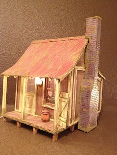 Little wood cabin made out of balsa wood by Greggs Miniature Imaginations