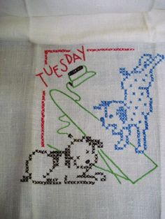 Antique Kitchen Linen Towel - Hand Embroidered - Tuesday