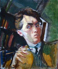 "Odon MÁRFFY - Self-Portrait, 1917 [Hungarian post-impressionist, member of ""the Eight""] Digital Museum, Fauvism, Collaborative Art, Mirror Image, Portrait Photo, Impressionist, Modern Art, Drawings, Artwork"
