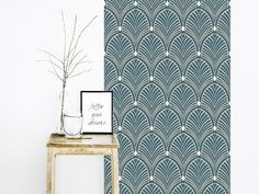 Papier peint GATSBY BLEU ORAGE Motif Art Deco, Gatsby Style, Wall Design, My Dream Home, Home Accessories, Sweet Home, Curtains, Lights, Living Room