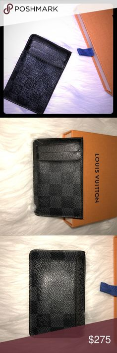 🧢LV NEO PORTES CARTES- CARD POCKET ORGANIZER🧢 Neo Porte Cartes- Part of the city chic Damier Graphite collection, this compact vertical card holder has two slots for credit cards, transport or business cards. It slips easily into a jacket or pants pocket. Preowned great condition - some stretch from use date code TA1172 France 2012 Louis Vuitton Accessories Key & Card Holders
