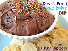 Devil's Food Cake Batter Dip served with Pie Crust Dippers! The ultimate party food.