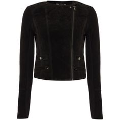 Vero Moda Long Sleeve Suede Jacket ($125) ❤ liked on Polyvore featuring outerwear, jackets, black, women, water proof jacket, vero moda jacket, vero moda, suede jacket and collar jacket