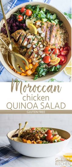 Moroccan Chicken Salad / This nutritious gluten free grain salad is filled with vegetables, herbs, and a mouth watering Moroccan spiced chicken. | SUNKISSEDKITCHEN.COM | #quinoa #salad #moroccan #chicken #glutenfree