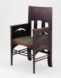 [Now on view in Gallery 247] Designed by Charles Rennie Mackintosh. Armchair, 1897. Gift of Neville F. Bryan.