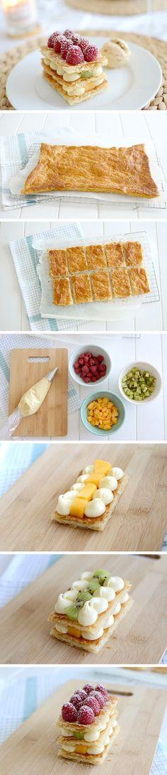 Milhojas de crema y frutas