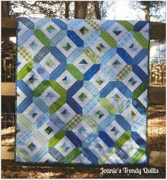 Modern Baby Quilt for a Boy by JoaniesTrendyQuilts on Etsy.