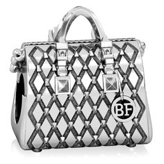 BELLA FASCINI Designer Stud Quilted Tote Purse European Bead Charm Sterling Silver Fits Bracelets ** You can find out more details at the link of the image. (This is an affiliate link) #JewelryLover