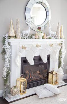 Christmas Mantel Decor Ideas With Christmas Stockings and Cedar Garland.