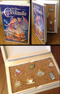 A great way to store a collection of Disney pins. I've added some Cinderella pins to this vhs case. A great way to store a collection of Disney pins. I've added some Cinderella pins to this vhs case. Disney Diy, Disney Home Decor, Disney Love, Disney Magic, Walt Disney, Diy Disney Gifts, Diy Disney Decorations, Disney Theme, Disney Dream