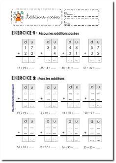 Fiches Addition Worksheets First Grade, Math Addition, Addition And Subtraction, Preschool Prep, Kindergarten Prep, Teaching Schools, Teaching Math, Math Help, Fun Math