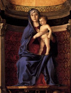 Giovanni Bellini (Italian, Venetian, ca. 1431/6, active by 1459, died 1516):  Virgin and Child - Frari Triptych (detail, 1488)