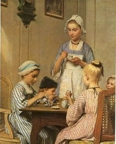 Kinderfrühstück, 1879 by Albert Anker. Realism. genre painting