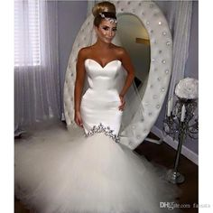Mermaid Wedding Dresses 2017 New Saudi Arabia Sexy Sweetheart Crystal Beaded Tulle Satin Bridal Wedding Gown Robe De Mariage 100% Real Work Cream Wedding Dresses Designer Wedding Dress From Faisata, $129.65| Dhgate.Com