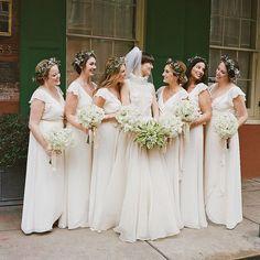 Wax Flower Crowns All White Wedding, White Bridal, Wedding Looks, Bridal Looks, White Bridesmaid Dresses, Wedding Dresses, Bridesmaids, Bridesmaid Ideas, White Flower Crown