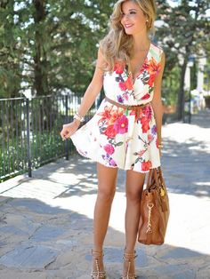 White Floral Print Wrap Front Sleeveless Romper Playsuit:… Dresses #Tops #Swimwear #Jeans #Jackets #Skirts #Shoes