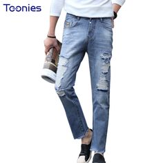 Jeans Men New Arrival Fashion Blue Ripped Jeans Skinny Brand Jean Pants Zipper Destroyed Pants Trousers Man Summer Streetwear ** AliExpress Affiliate's Pin. Find out more by clicking the VISIT button