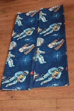 Space Theme Pair of Curtains. Vintage Upcycling Material Spaceships & Spacemen by AtticBazaar on Etsy