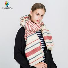 e2507e8a4fe5b Long Colorful Striped Scarves For Women 2017 New Fashion Scarf Cashmere  Poncho Fall Winter Luxury Brand
