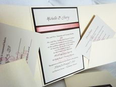 Invitation 903: White Gold, Chocolate Smooth, Cream Smooth, Swan Song, Calligraph 421, Brown Ribbon, Coral Ribbon
