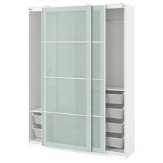 PAX Wardrobe, white, Sekken frosted glass, cm - Buy online or in-store - IKEA Pax Corner Wardrobe, Glass Wardrobe, Pax Wardrobe, Sliding Wardrobe, Wardrobe Ideas, Plastic Shelves, Plastic Drawers, Bedrooms
