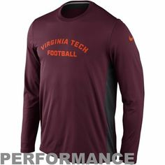 819d61ce9cac Nike Virginia Tech Hokies Speed Legend Long Sleeve Performance T-Shirt -  Maroon