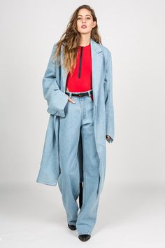 Y/PROJECT - BLEACHED DENIM COAT
