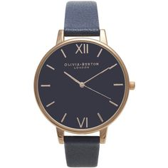 TOPSHOP **Olivia Burton Navy Big Dial and Rose Gold Watch (375 ILS) ❤ liked on Polyvore featuring jewelry, watches, accessories, navy blue, buckle watches, navy watches, dial watches, pin jewelry and navy blue jewelry