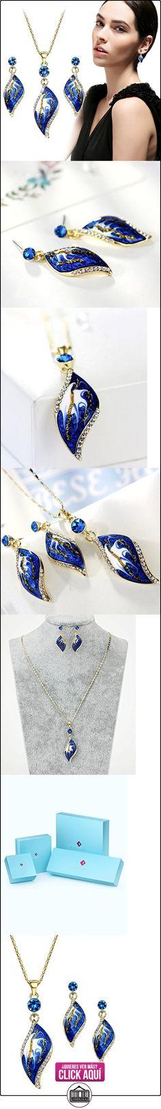 NEOGLORY Conjunto de Joya Collar Pendientes Esmalte Azul Oro 14K Enchapado Joya Original Mujer  ✿ Joyas para mujer - Las mejores ofertas ✿ ▬► Ver oferta: http://comprar.io/goto/B01IMXZ35S