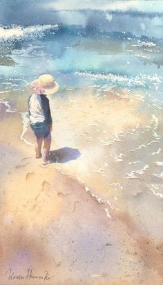 Watercolor  Colores Colors  Beautiful  Art Arte Beach Playa Water Agua Sombrero Kid Niño Nene Arena Shining soleado