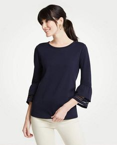 b604e3f3c632 Shop Ann Taylor for effortless style and everyday elegance. Our Petite  Ponte Flare Sleeve Lace Trim Top is the perfect piece to add to your closet.