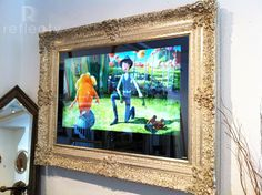 Bespoke Mirror TV with Handcrafted Classic Bespoke Frame - TV ON Hide Tv Over Fireplace, Fireplace Tv Wall, Picture Frame Tv, Mirrored Picture Frames, Best Tv Wall Mount, Mount Tv, Mirror Splashback, Mirror Tv, Home Decor Ideas