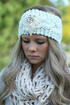 Ivory Knitted Embellished Headwrap Headband... I really want this, of course it's out of stock!