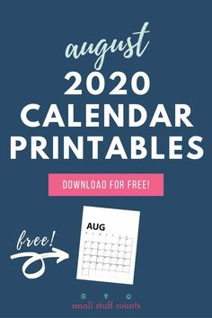 Here's where you can get your free August calendar printable! Choose whichever one(s) strike your fancy, print, and start planning today. #freeprintable #augustcalendar #printablecalendar Free Monthly Calendar, August Calendar, Blank Calendar, Free Printable Calendar, Free Printables, Organizing, Organization, Daily Activities, Frame It