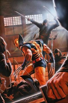 Wolverine vs Hand Ninja by Alex Ross Marvel Wolverine, Logan Wolverine, Marvel Comics Art, Marvel Vs, Marvel Heroes, Captain Marvel, Wolverine Cosplay, Comic Book Characters, Marvel Characters