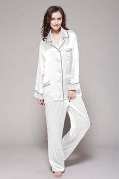 d365e3bdf0 22 Momme Contrast Trim Silk Pajamas Set